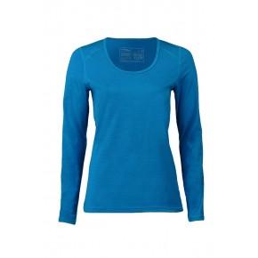T-shirt de sport femme à manches longues, laine mérinos et soie bleu