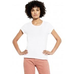 T-shirt Bio blanc pour femme à manches roulées