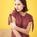 T-shirt en lin Bio femme à manches fendues rosso