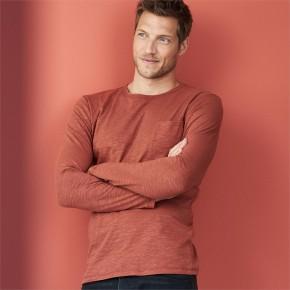T-shirt manches longues en coton flammé Bio, homme