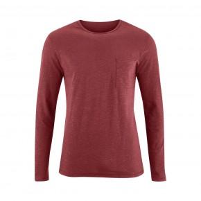 T-shirt manches longues en coton Bio rouge, homme