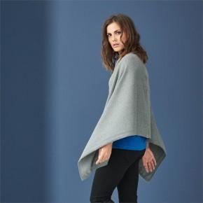 Poncho / Écharpe en laine biologique gris