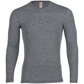 T-shirt homme à manches longues en mérinos gris
