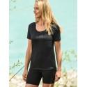 T-shirt femme en laine merinos noir