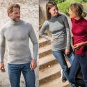 Pull à col roulé homme ou femme en laine mérinos et soie noir