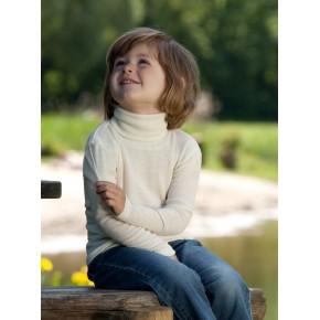 Pull enfant à col roulé laine et soie