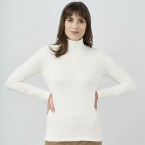 T-shirt à col roulé femme en coton Bio blanc