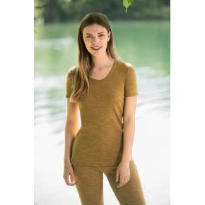 T-shirt femme 100 % laine mérinos jaune safran