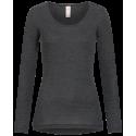 T-shirt long femme en laine mérinos et soie