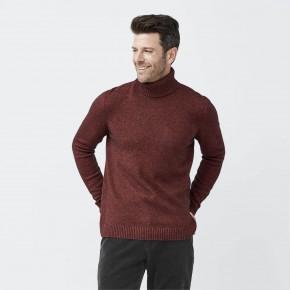 Pull homme à col roulé laine et coton Bio rouge foncé
