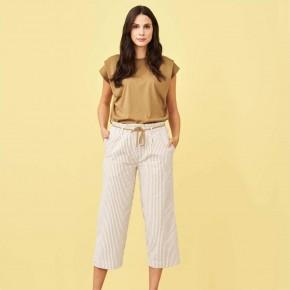 Pantalon 100% coton Biologique rayé beige