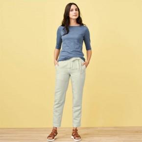 Pantalon femme en lin bio beige
