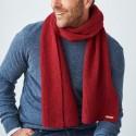 Echarpe  homme 100% laine vierge Bio rouge
