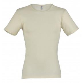 T-shirt homme laine mérinos et soie écru